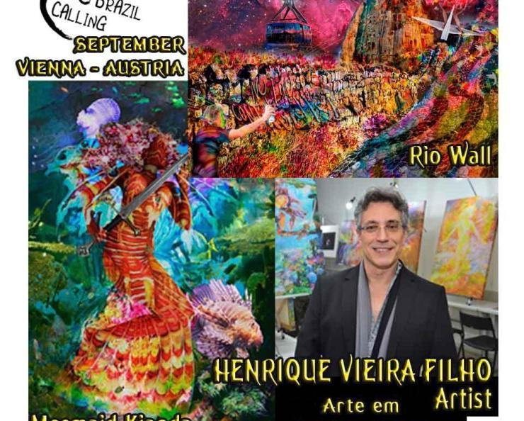 """Nosso Artista Henrique Vieira Filho estará com suas obras """"Rio Wall"""" e """"Mermaid Kianda"""", em Vienna, na Arte em Claves de Sol_curated by Angela Oliveira_NuiArt, agora em setembro."""